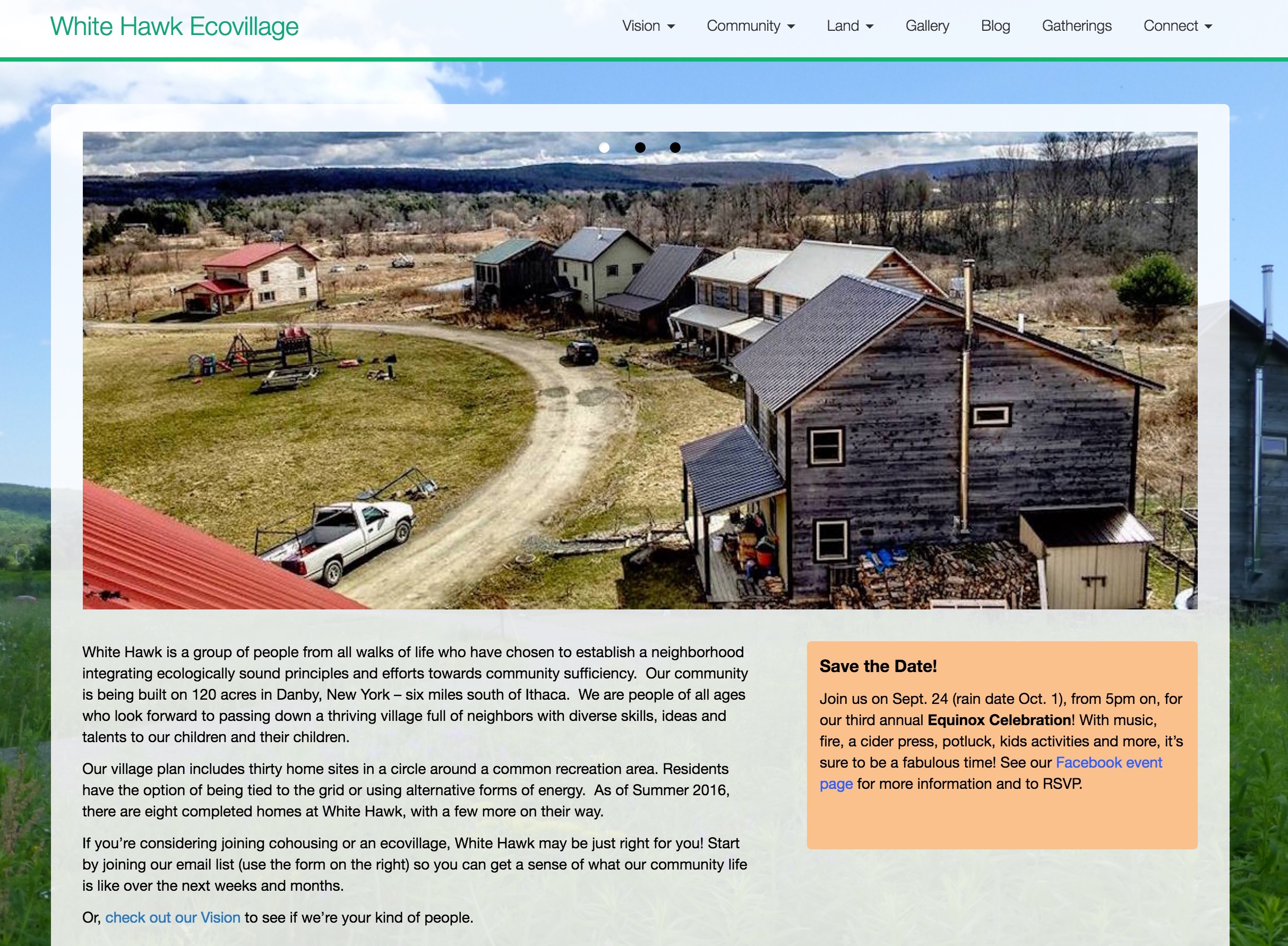 White Hawk Ecovillage Website design and development in Wordpress
